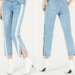 Rewash Snap and Striped Side Light Wash Jeans